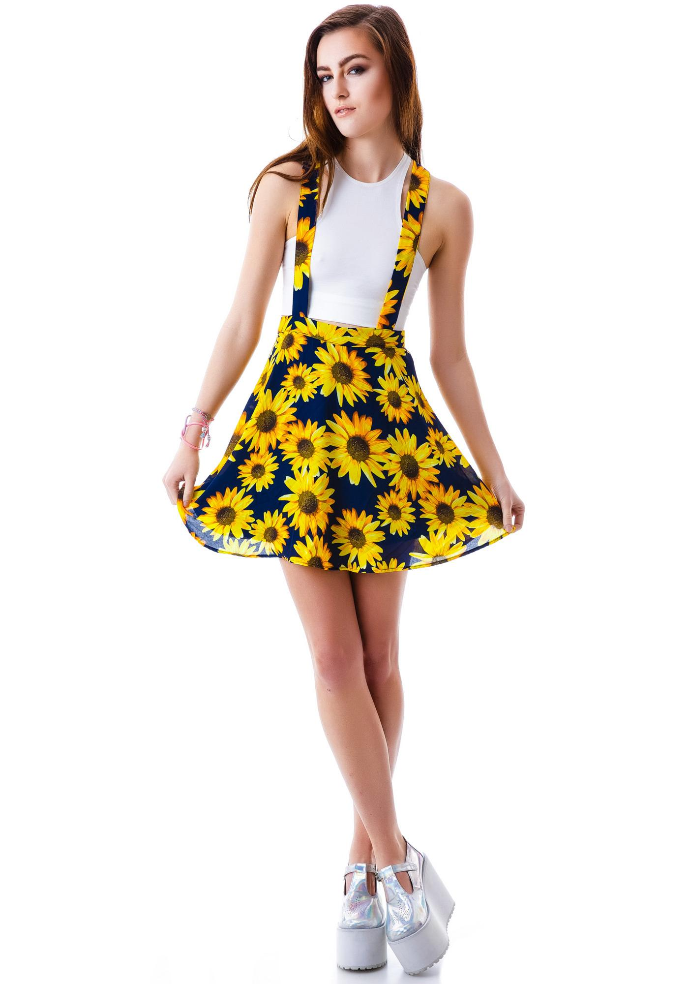 Sunflower Garden Suspender Skirt