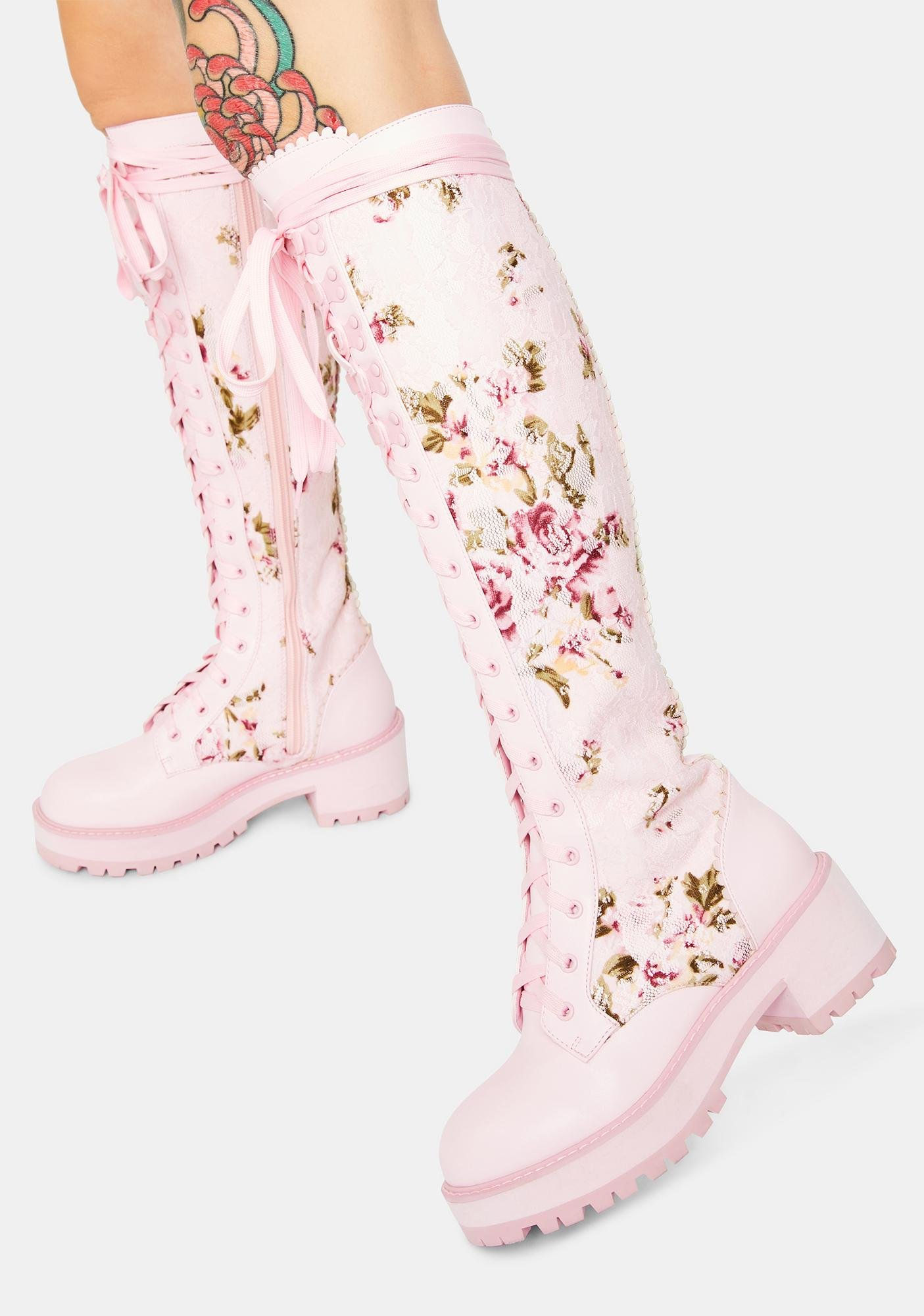 Sugar Thrillz On The Vine Floral Lace Knee High Combat Boots