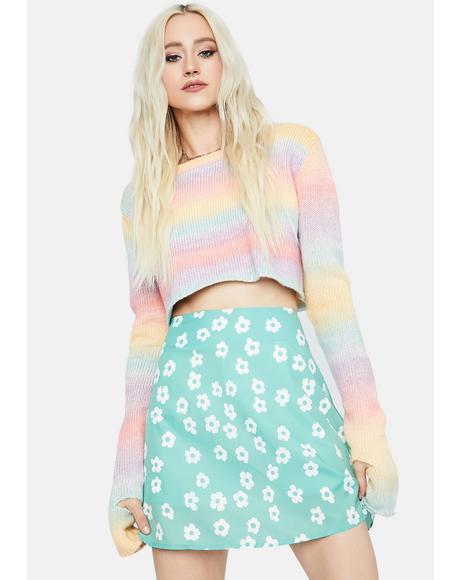 Aqua Floral Swirl A Line Mini Skirt