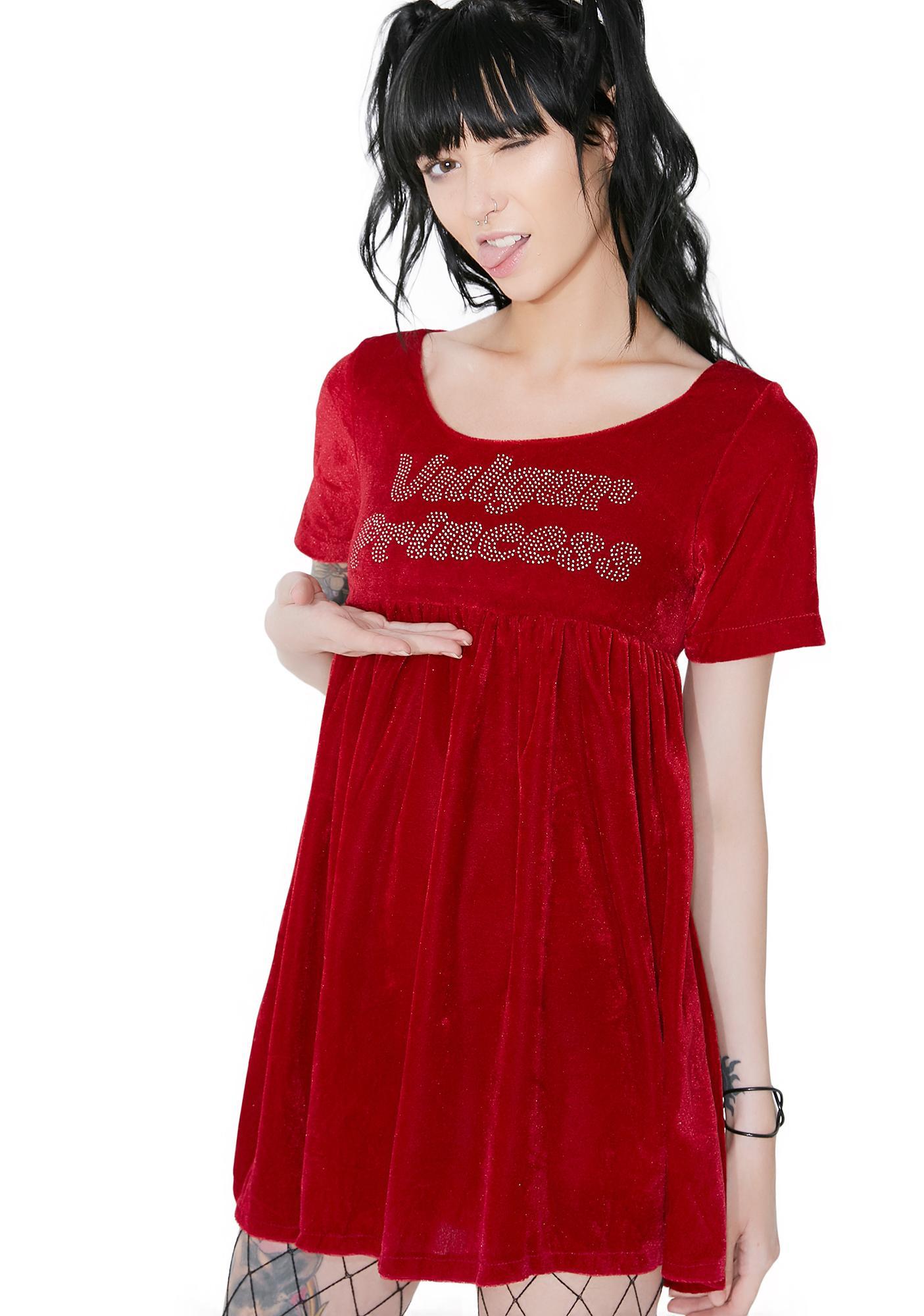 O Mighty Vulgar Princess Velvet Babydoll Dress