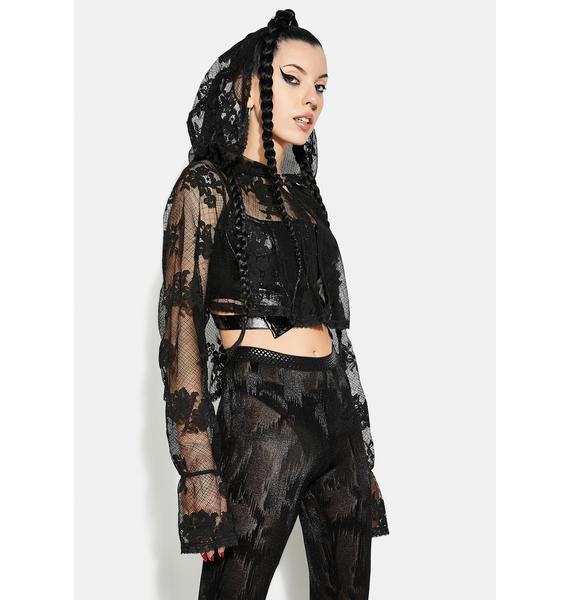 Punk Rave Goth Lace Sunscreen Shirt