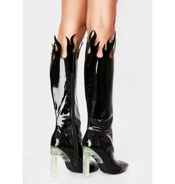 HOROSCOPEZ Up In Smoke Flame Boots