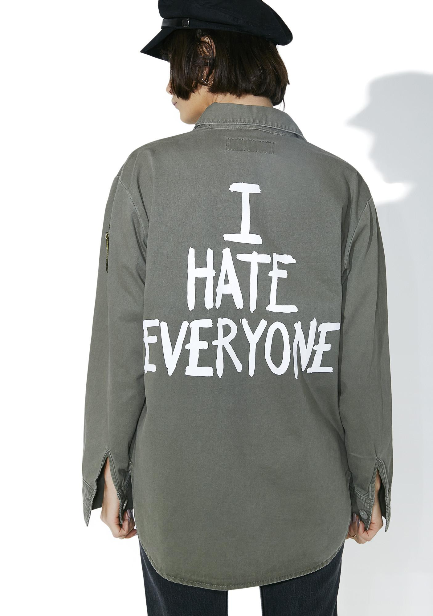 Jac Vanek I Hate Everyone Vintage Army Jacket