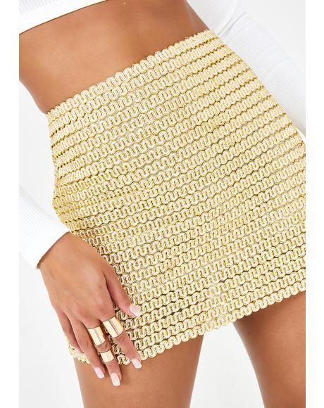 Golden Embrace Mini Skirt