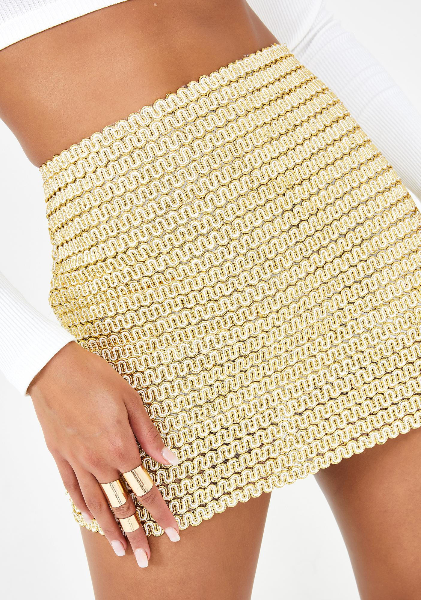 Kiki Riki Golden Embrace Mini Skirt