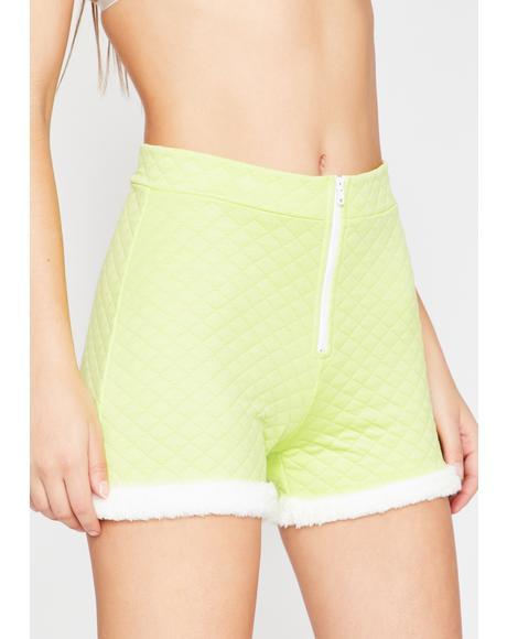 Lime Soft Gurl Hours Fur Trim Shorts