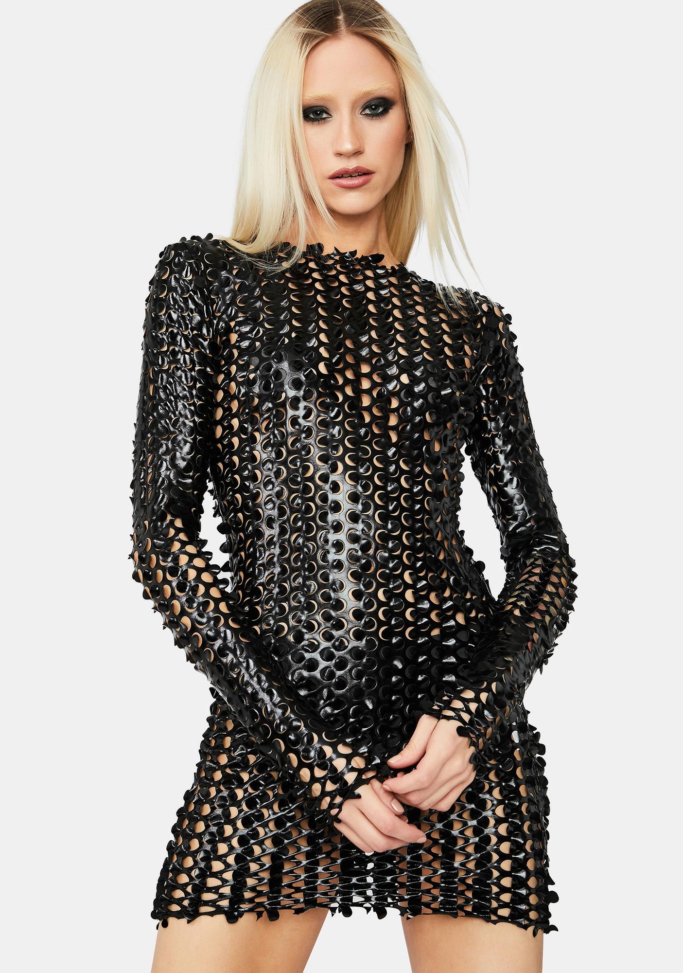 Laser Focus Textured Mini Dress