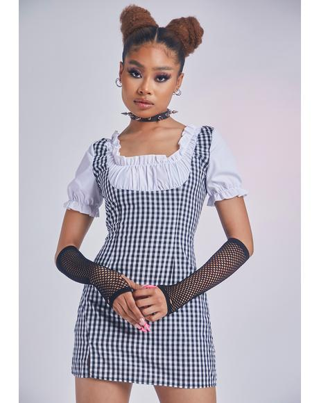 Noir Cherished In Paris Underbust Gingham Dress