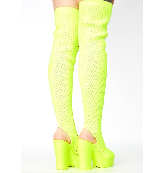 Chartreuse Straight No Chaser Fishnet Boots