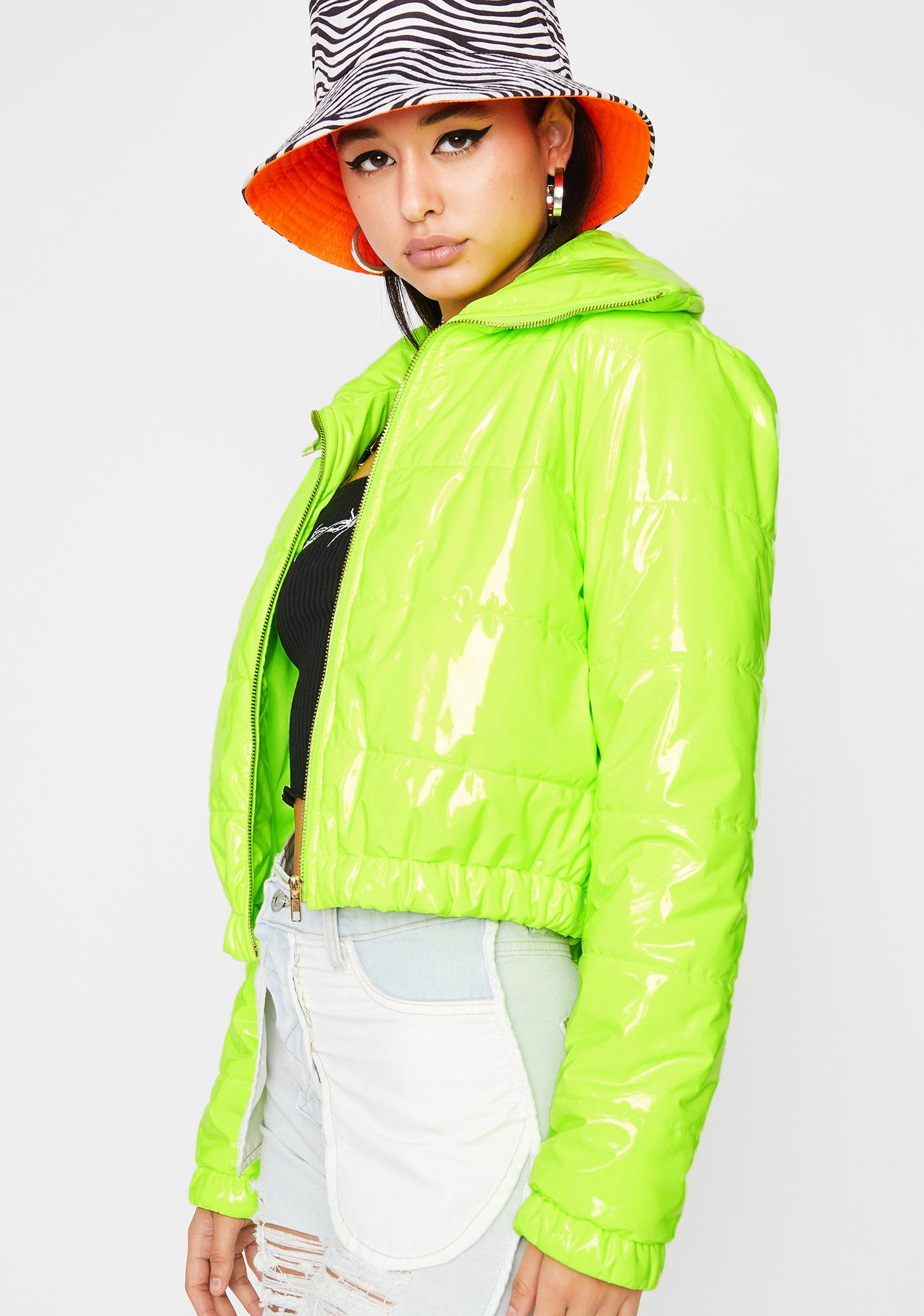 Lime What's Really Good Puffer Jacket