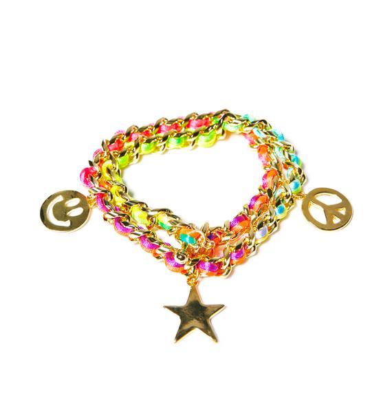 Ettika Neon Smiley Face Charm Bracelet