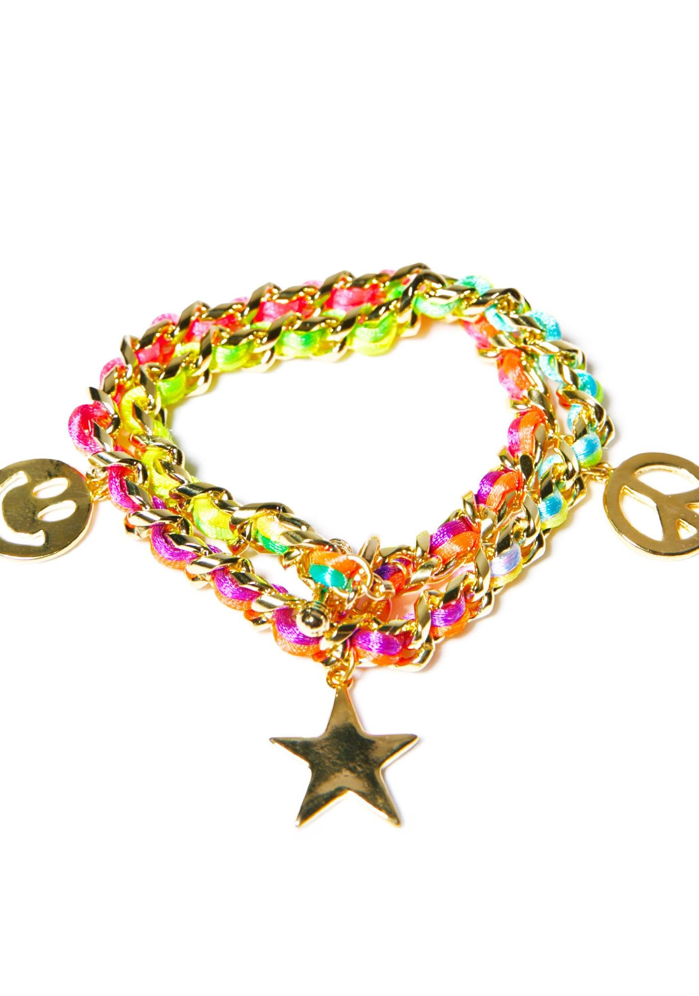 Ettika Neon Smiley Face Charm Bracelet