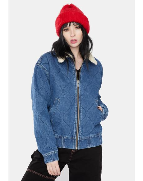Blue Quilted Denim Harrington Jacket