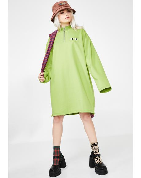 Lime Zippy Dress
