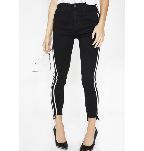 Momokrom Black Side Stripe Skinny Jeans