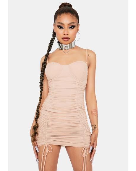 Latte Keep Talkin' Ruched Bodycon Dress