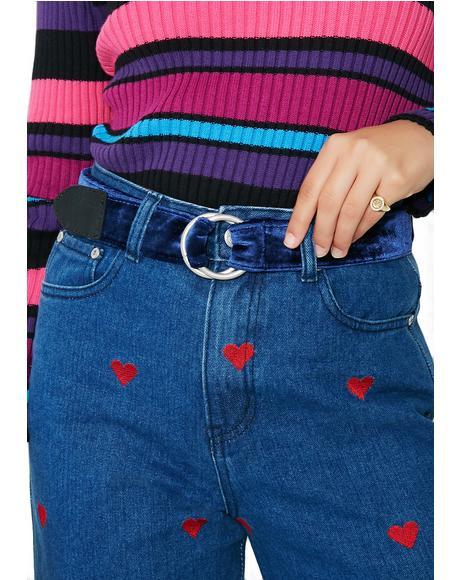 Loop & Tuck Velvet Belt