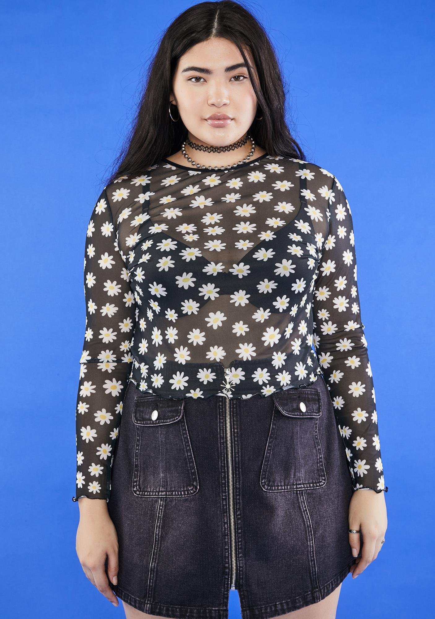 dELiA*s by Dolls Kill So What's The Buzz Mesh Top