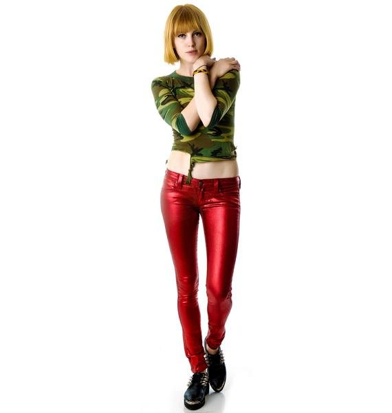 Frankie B Metal Red My BFF Jegging