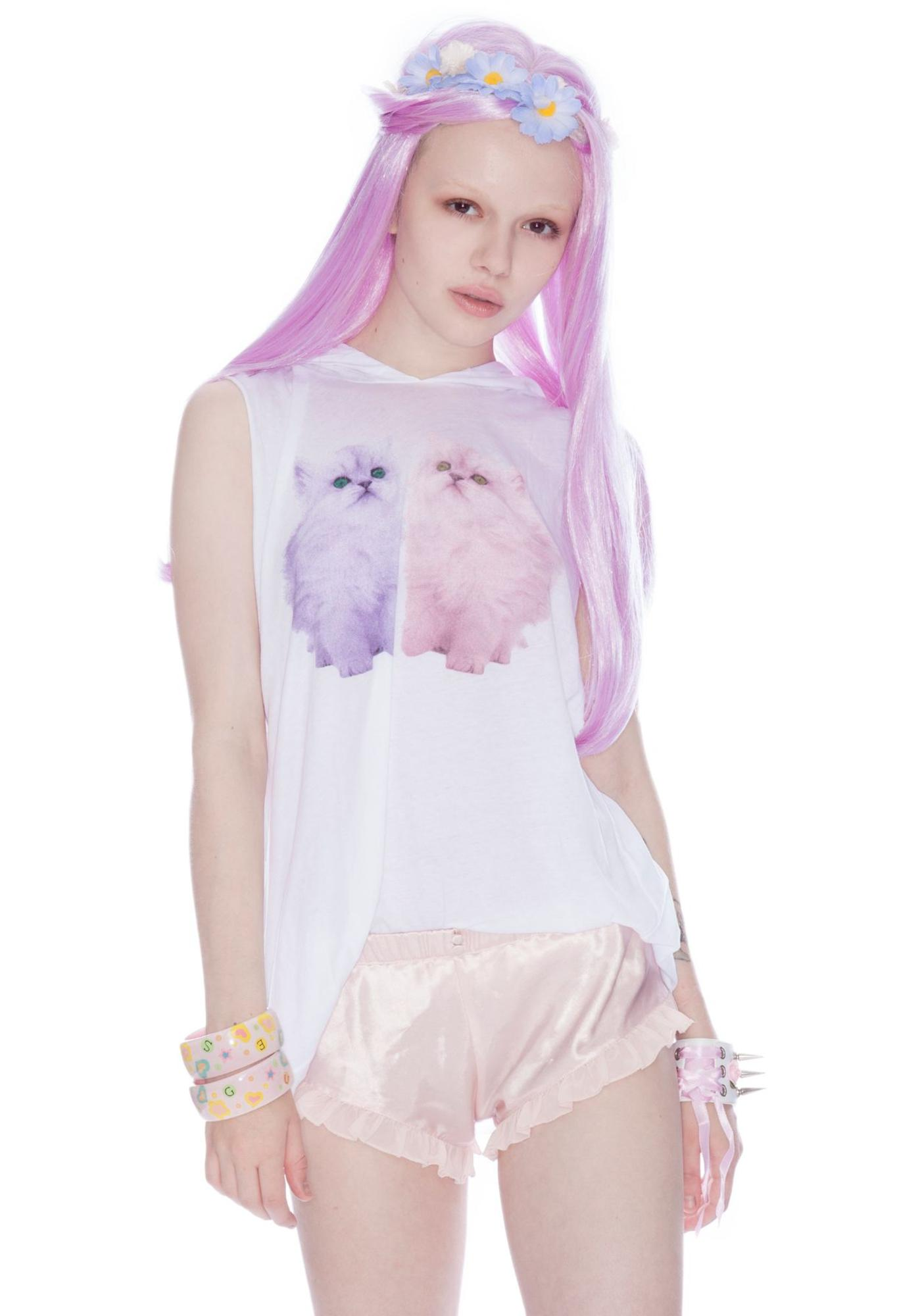 Wildfox Couture Magic Cats Hooded Muscle Tee