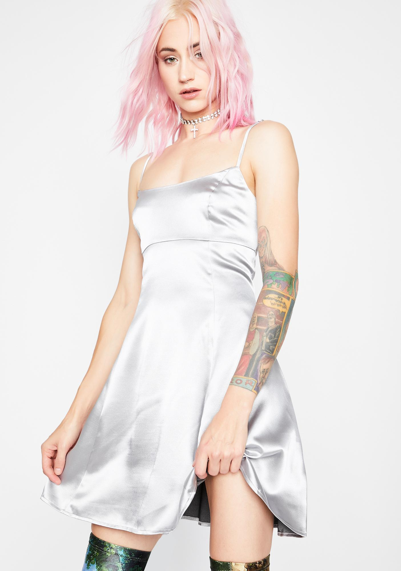 Current Mood Dipped In Stardust Satin Dress