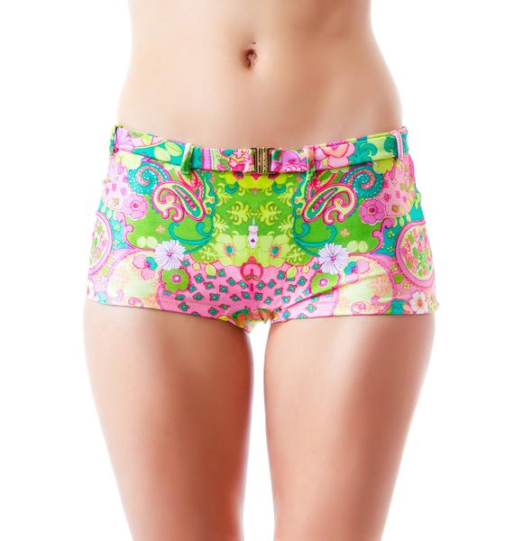 Wildfox Couture Psychedelic Paisley Retro Belted Short