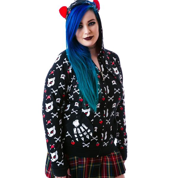 Bad Kitty Skulls N Hearts Hoodie