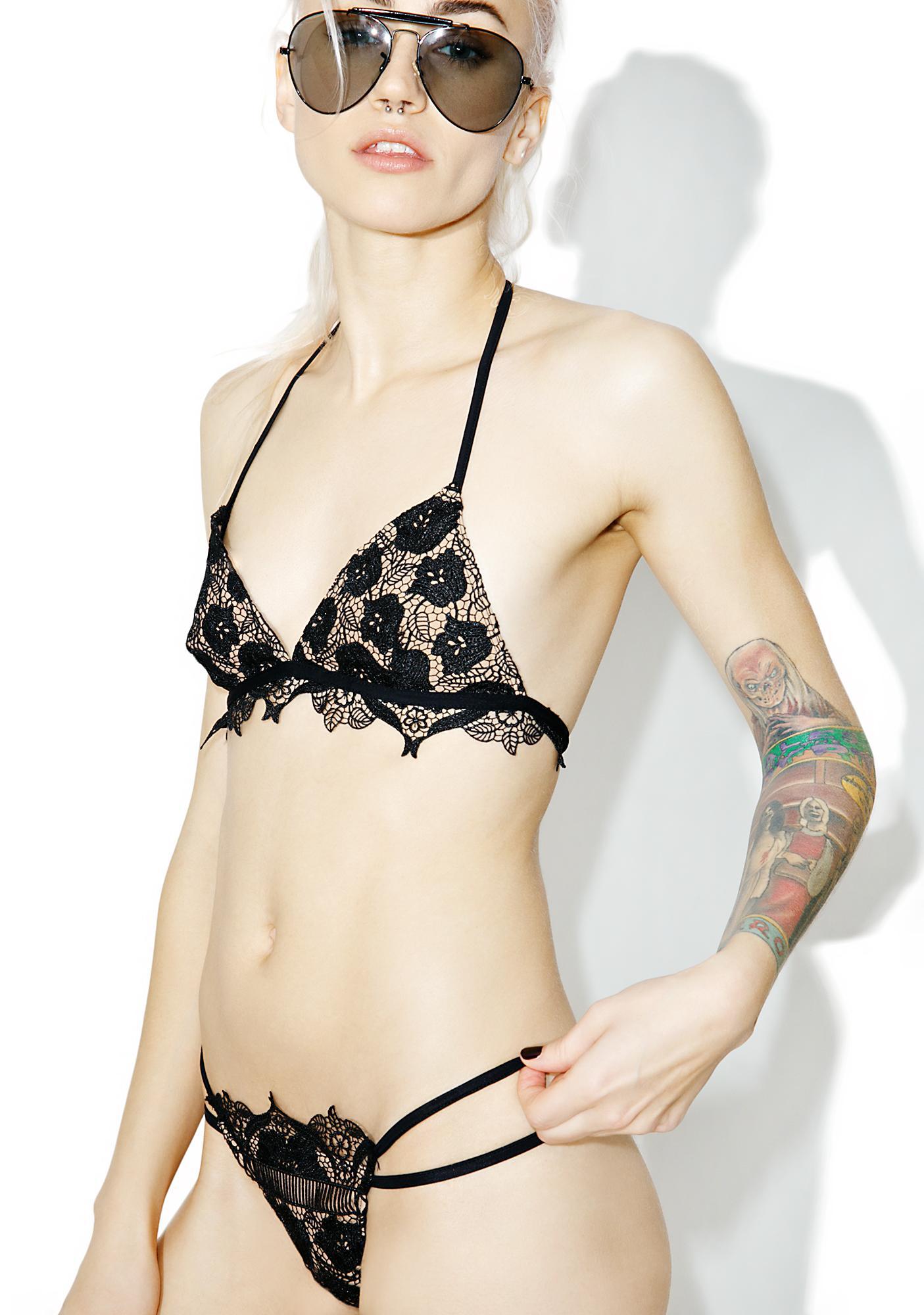 For Love & Lemons Corsica Lace Strappy Bikini Bottoms