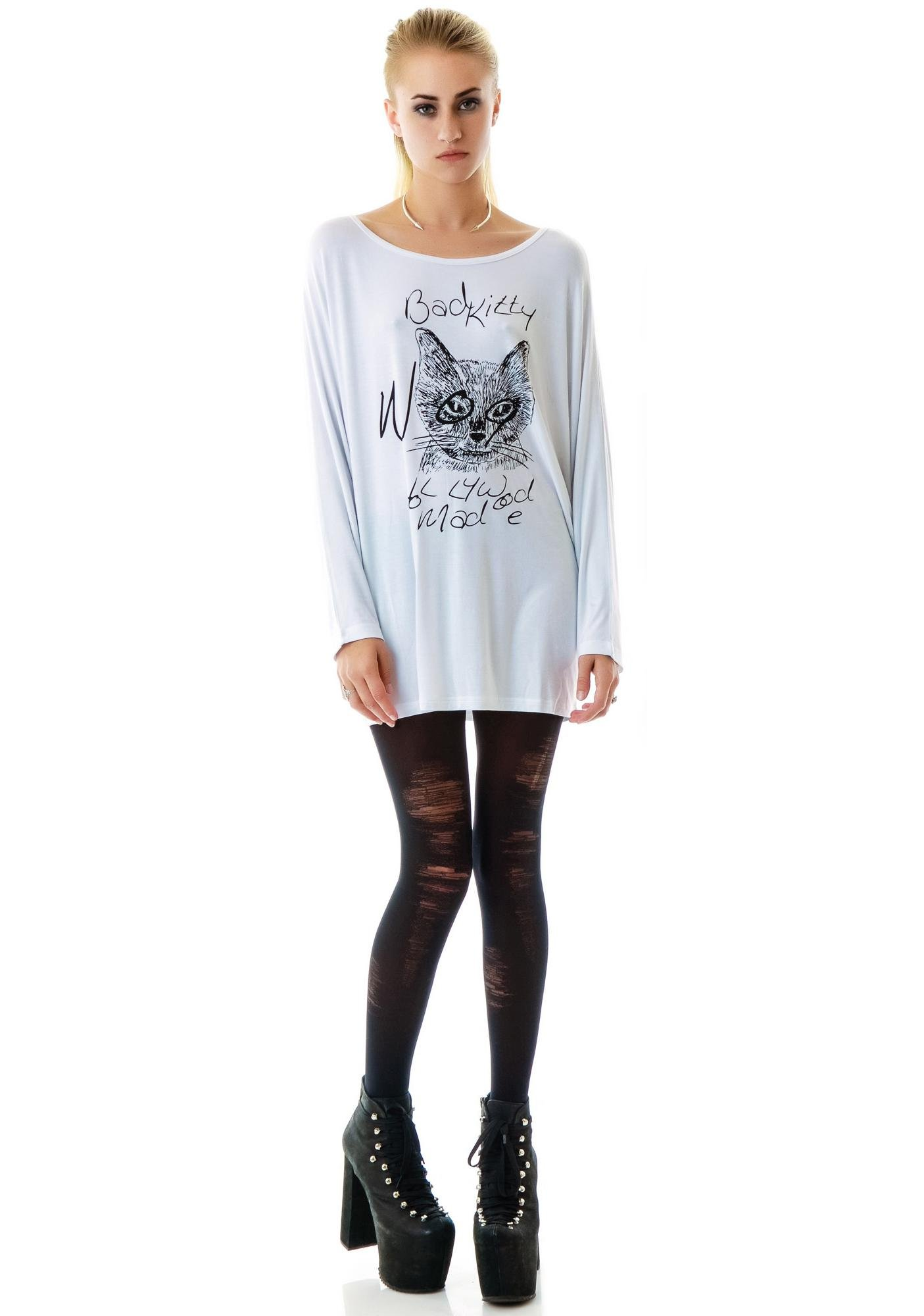 Hollywood Made Miss Bad Kitty Batwing Top