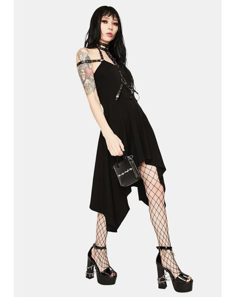 Neck Chest Harness Midi Dress