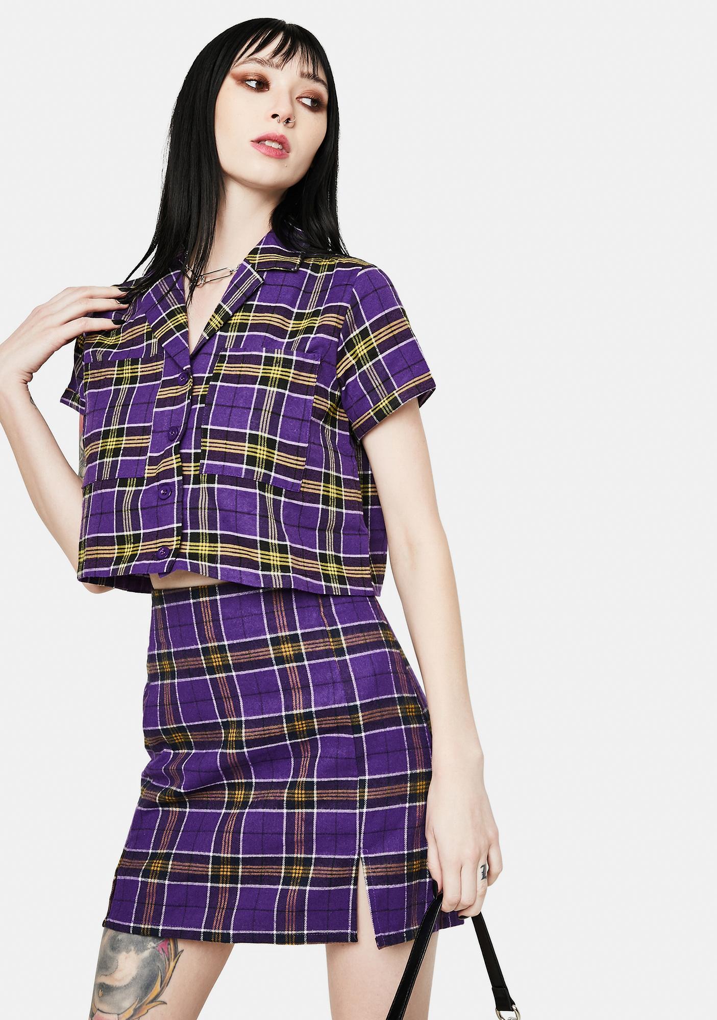 Daisy Street Maxine Purple Plaid Crop Shirt