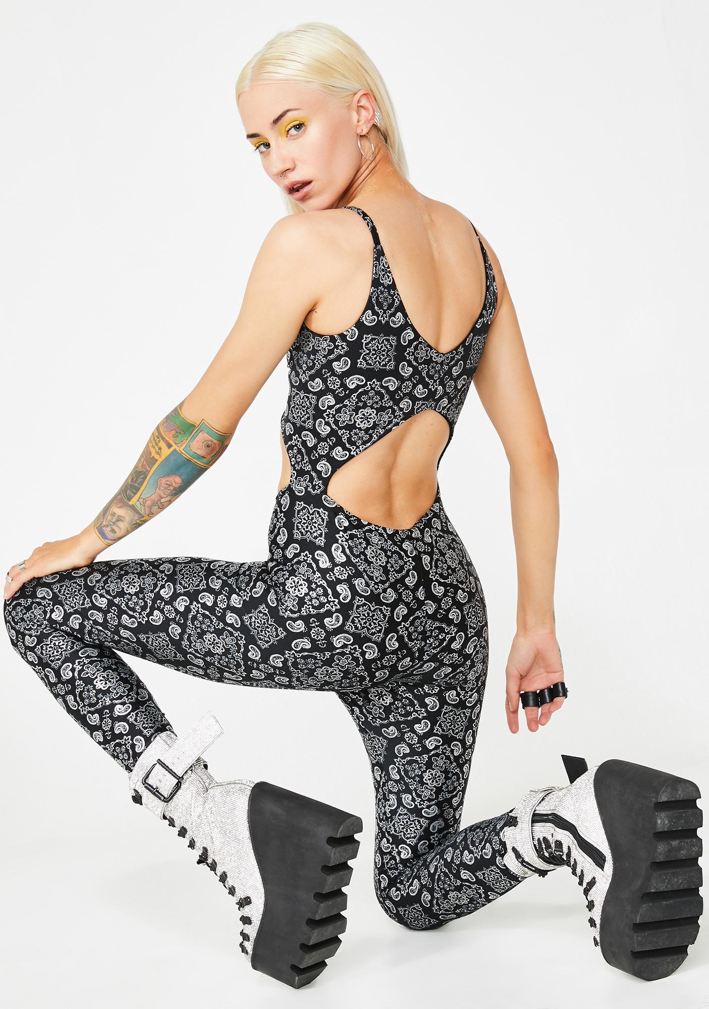 Soulan Zee Paisley Black Bailey Jumpsuit