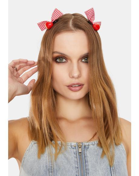 Pretty Picnic Strawberry Bow Hair Clip Set