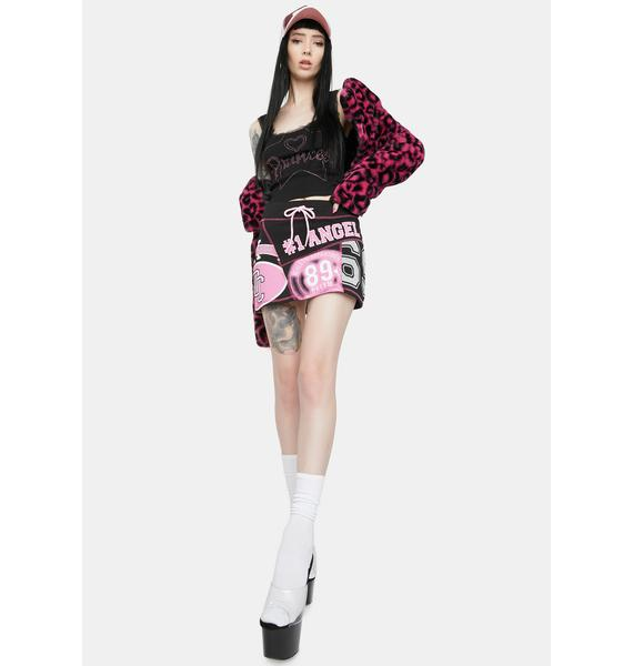 Jaded London Angel Print Patchwork Mini Skirt