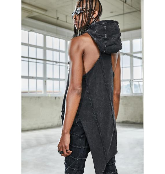 DARKER WAVS Bassline Hooded Asymmetrical Tank