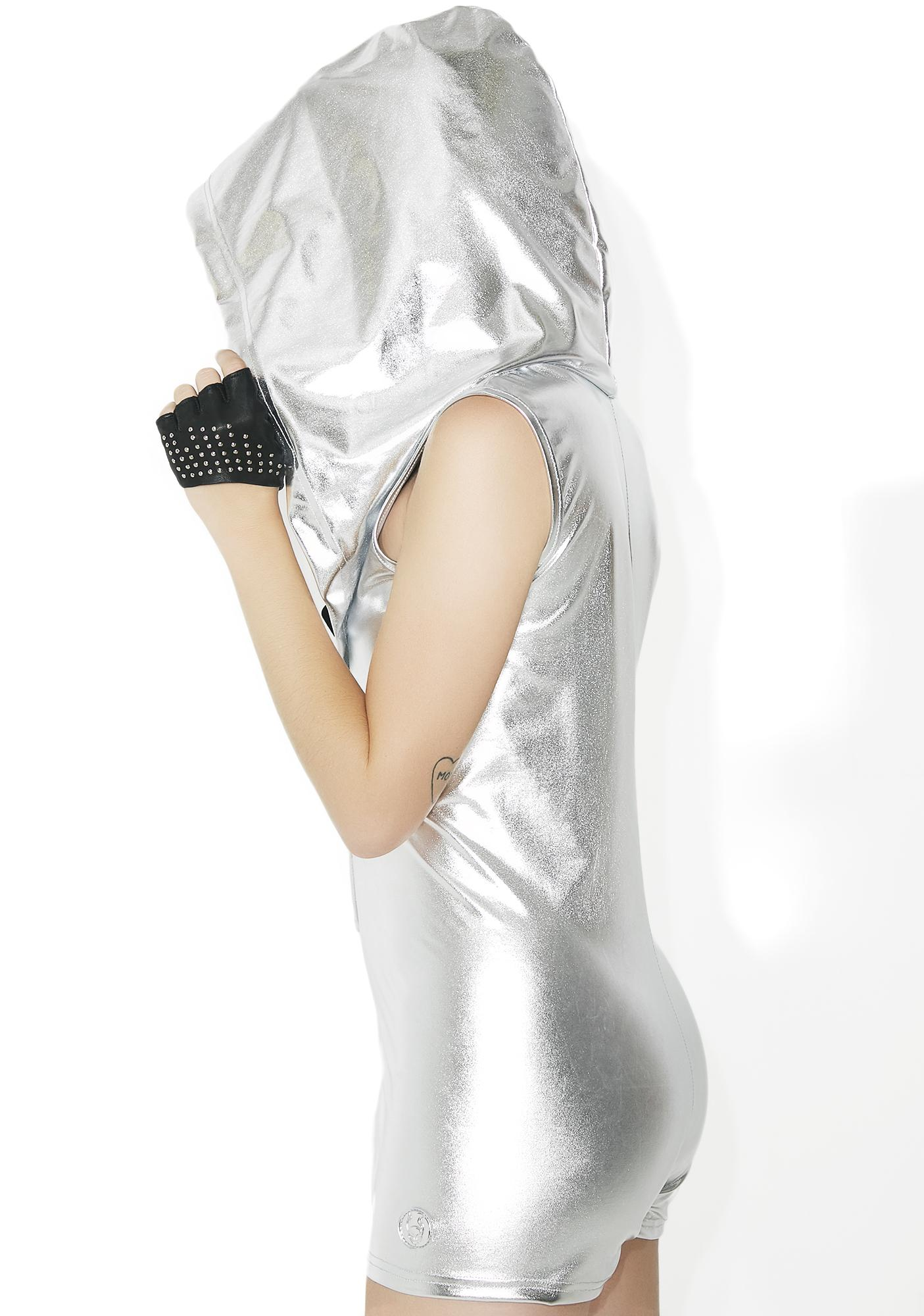 Cyberdog Metallic Drape Playsuit