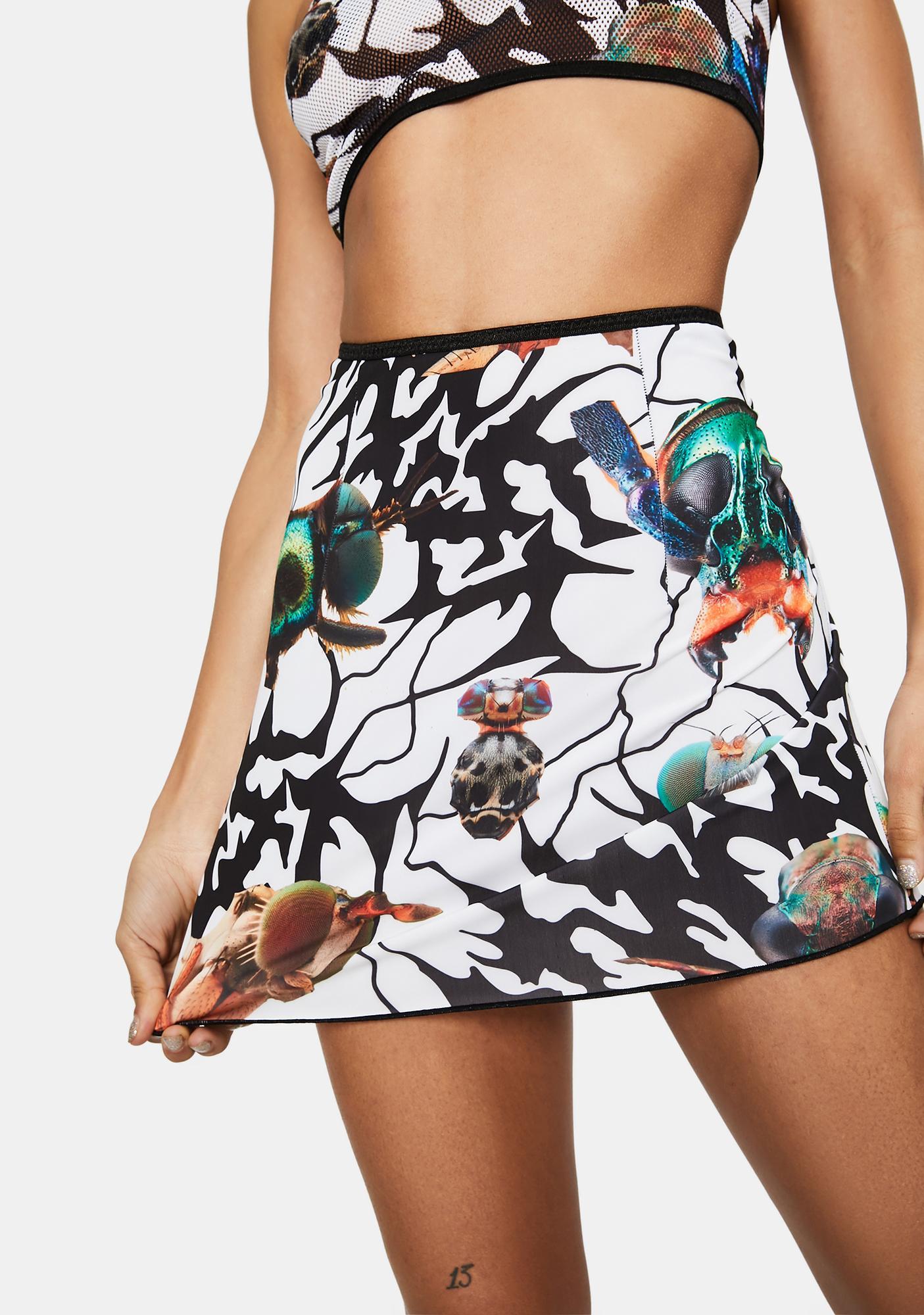DAMAGE Lace Up Back Mini Skirt