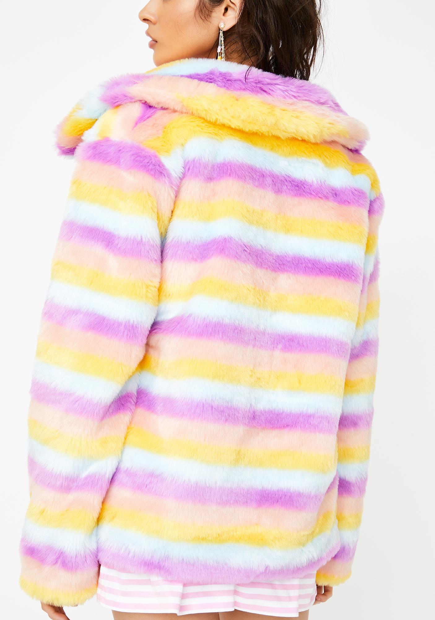 Daisy Street Stripe Faux Fur Front Zip Jacket