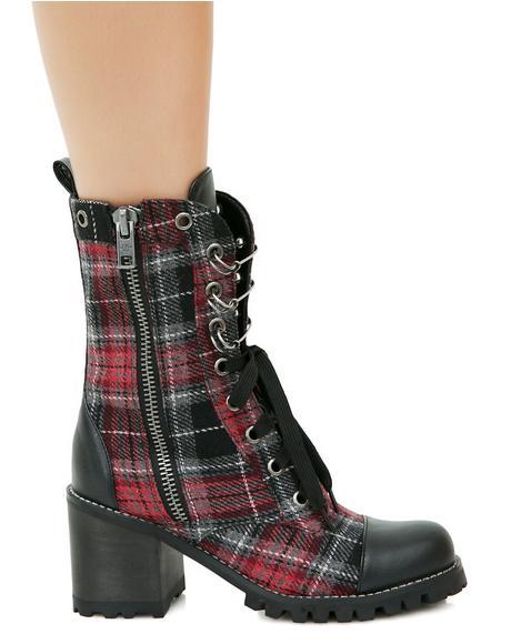 Judy Plaid Combat Boots