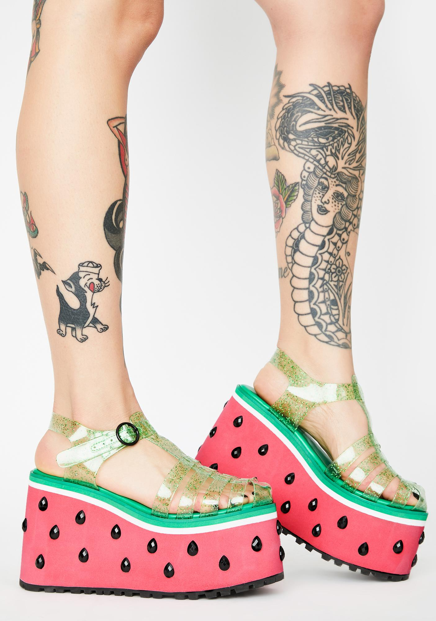 Sugar Thrillz One In A Melon Platform Sandals