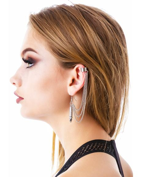 Biting Bullets n' Guns Cuff Earring Set