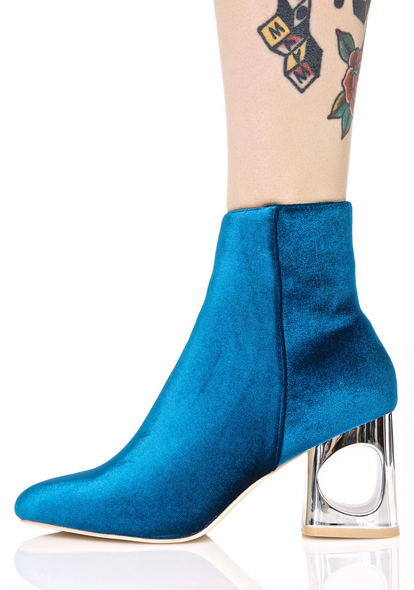 Blue Velvet Metallic Heel Cutout Boot