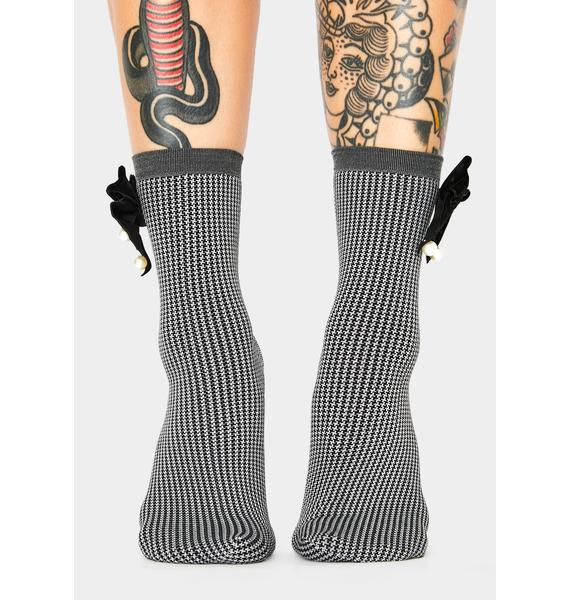 MeMoi Houndstooth Pearl Bow Ankle Socks