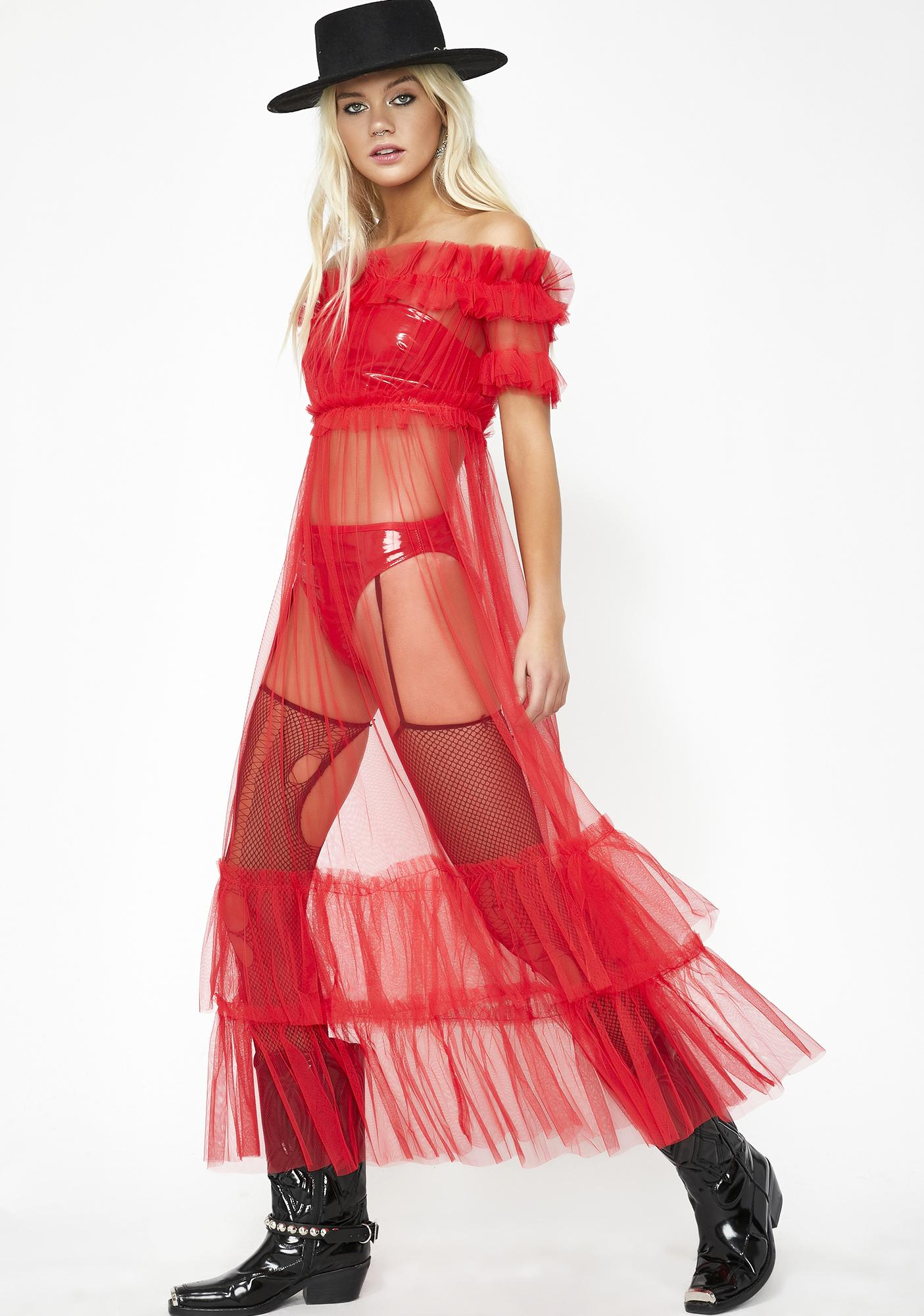Crimson Dazed Tulle Dress