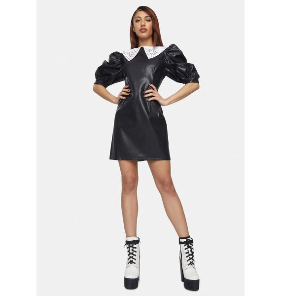 Glamorous Vegan Leather Studded Collar Mini Dress