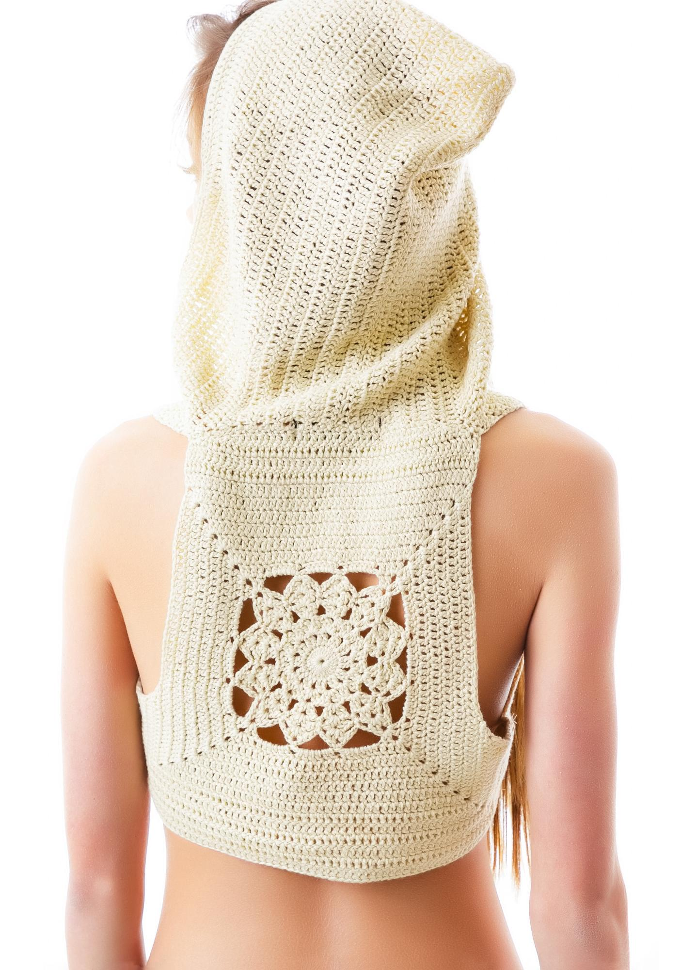 Free Love Crochet Hooded Bra