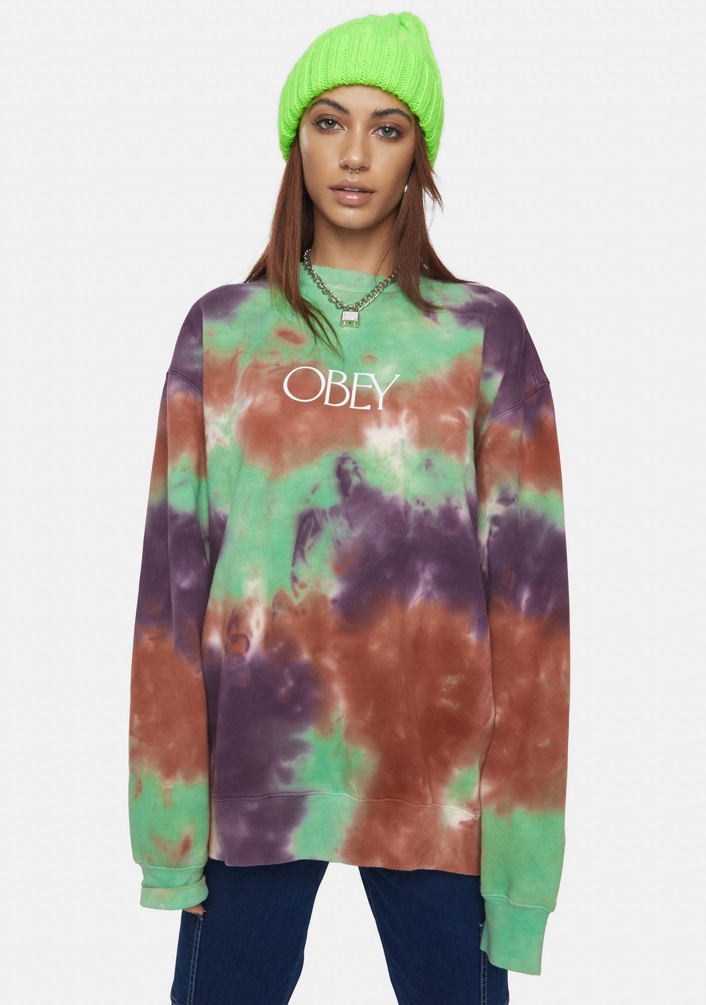 Obey Green Ash Regent Premium Tie Dye Crewneck
