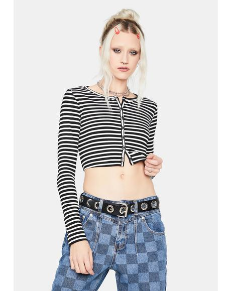 Been Burned Striped Long Sleeve Crop Top