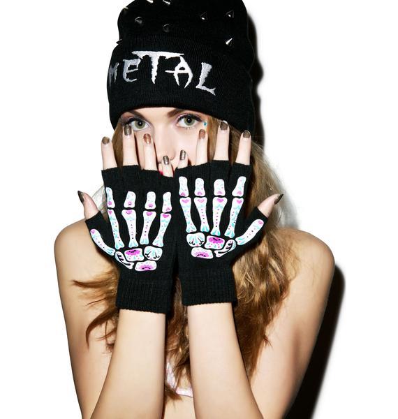 Too Fast Day Of The Dead Bones Fingerless Gloves
