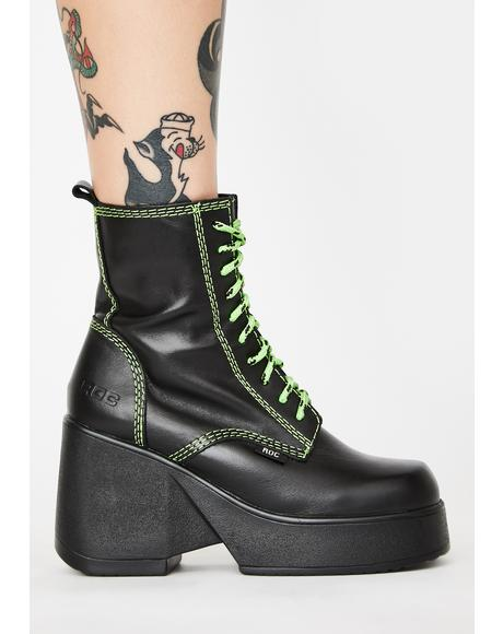 Lime Pyramid Ankle Boots